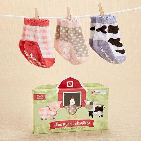 """Barnyard Booties"" Farm Fun Socks Set (0-6 Months) – Boston Baby Co. Baby Girl Cute Clothes & Shower Gift Ideas"