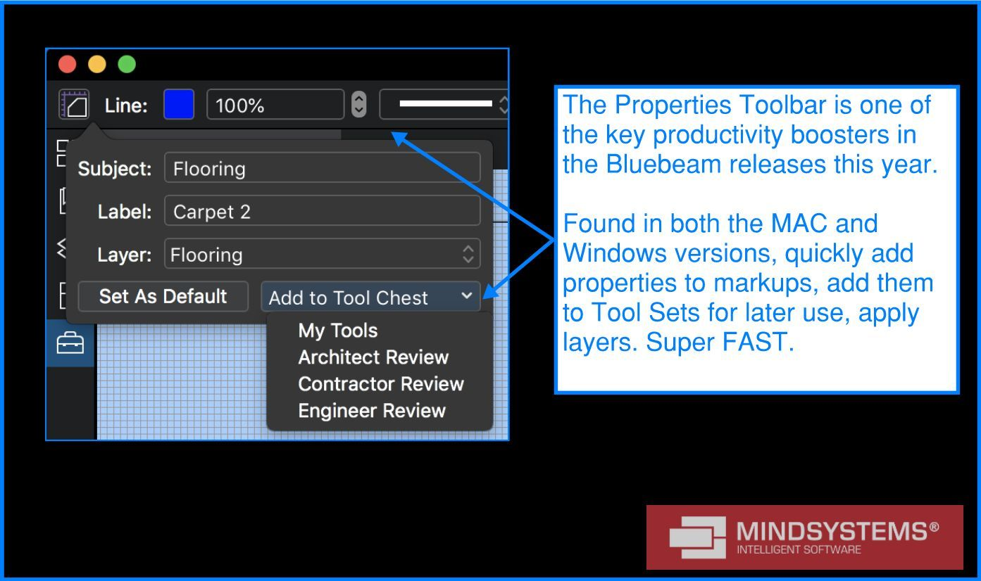 The Properties Toolbar is one of the key productivity