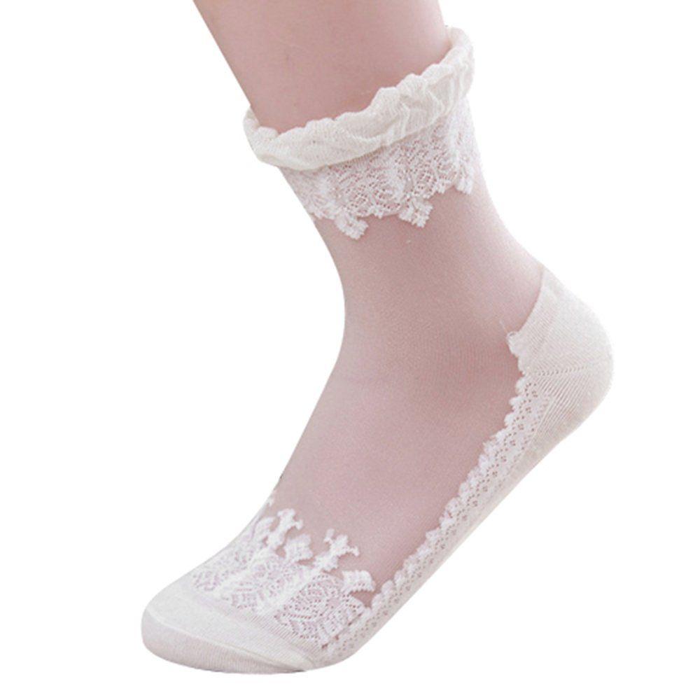 Ankle Girls Sanwood Cute Low Cut Antiskid Short Women Socks Lace Transparent