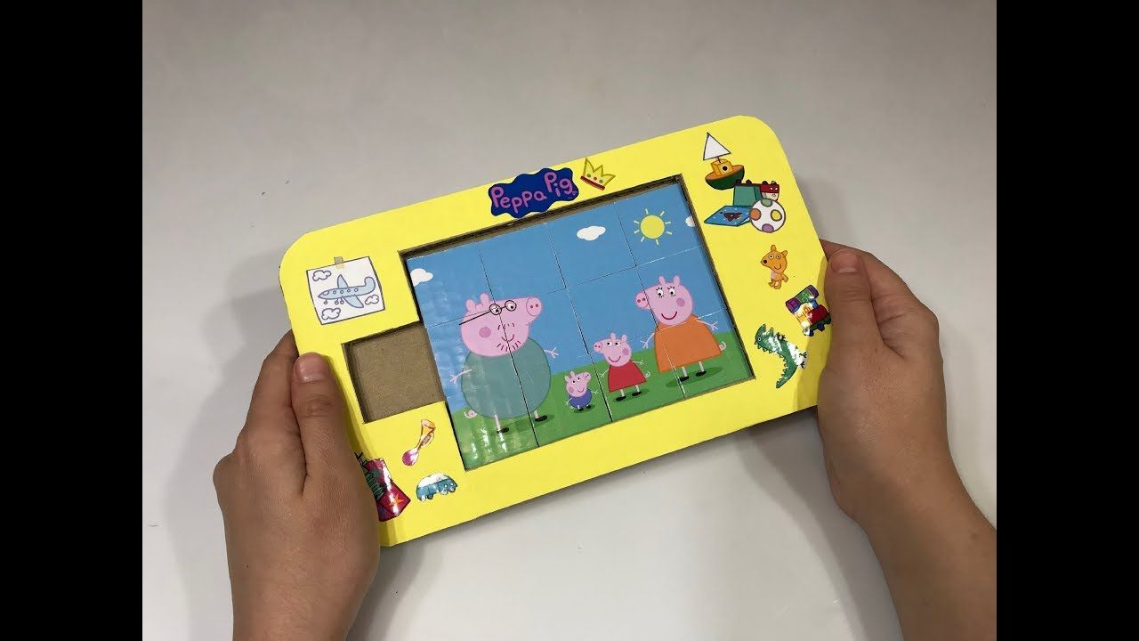 How to make a cardboard game puzzles peppa pig cardboard