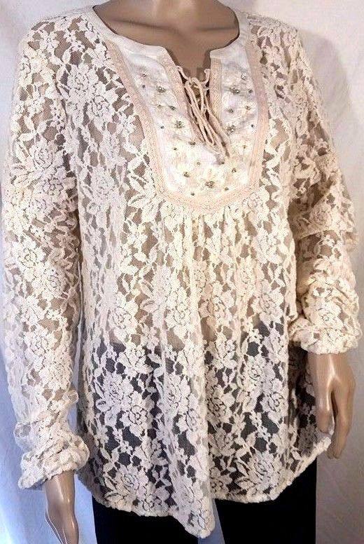 NWT Miss Me Lace Up Sheer Lace Beige Long Sleeve Peasant Size L  #MissMe #Tunic