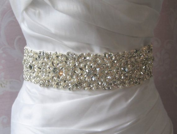 Crystal Bridal Sash Belt Crystal Amp Pearl Sash