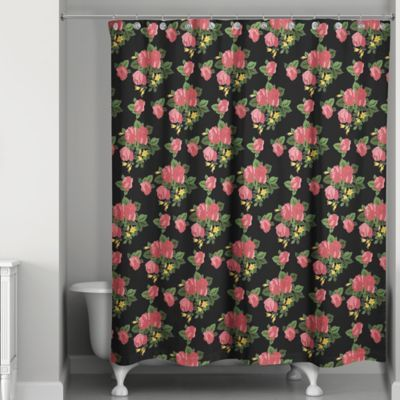 Red Roses Shower Curtain Black Pink