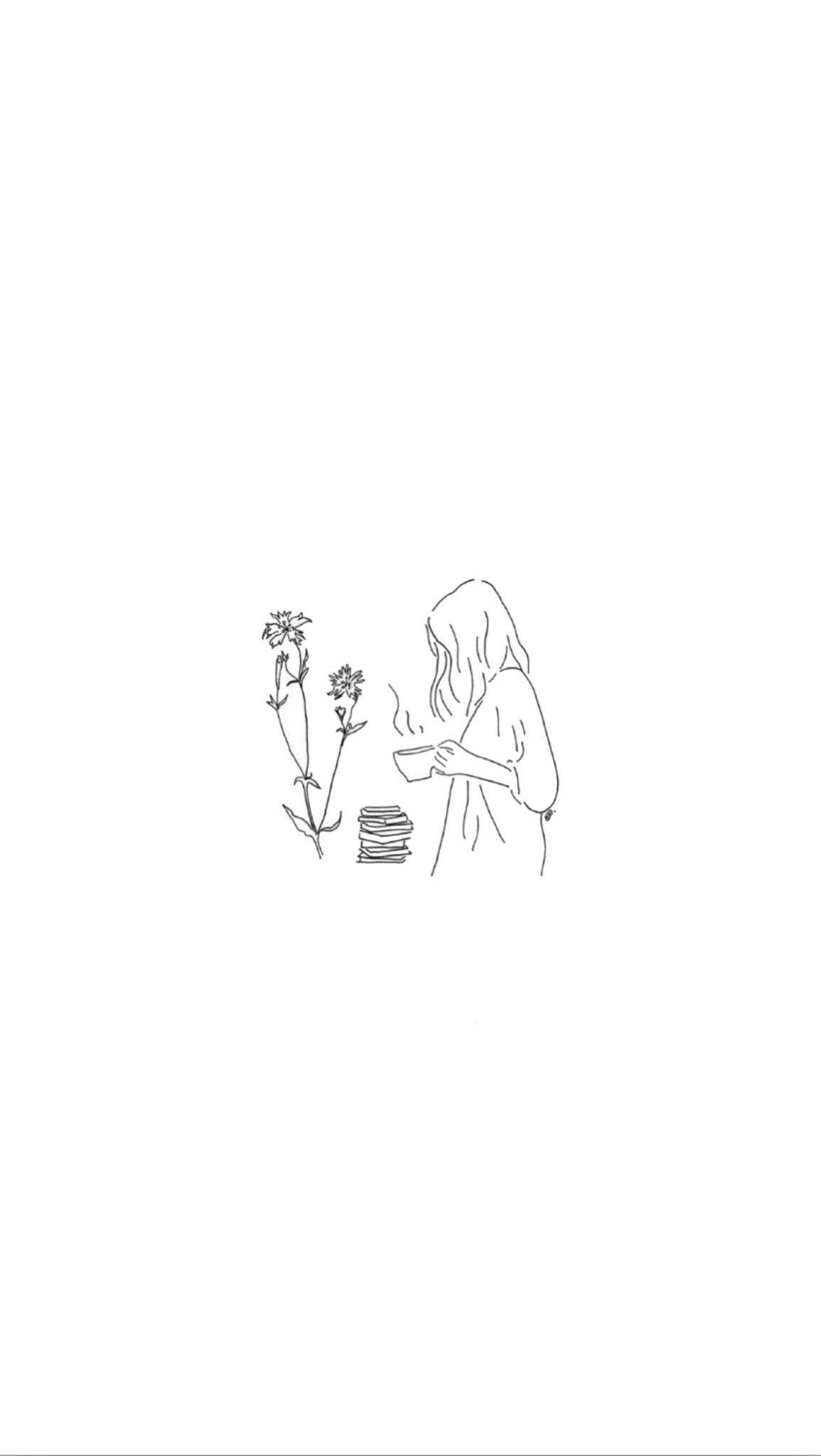 Girl Art Drawing Beautiful Minimalism Mini Pencil Cute
