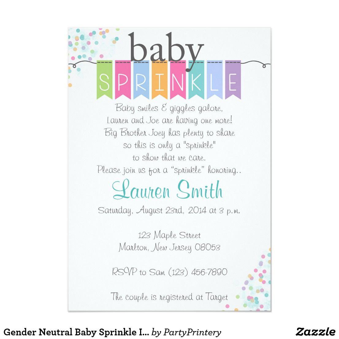 Gender Neutral Baby Sprinkle Invitations Gender neutral baby ...