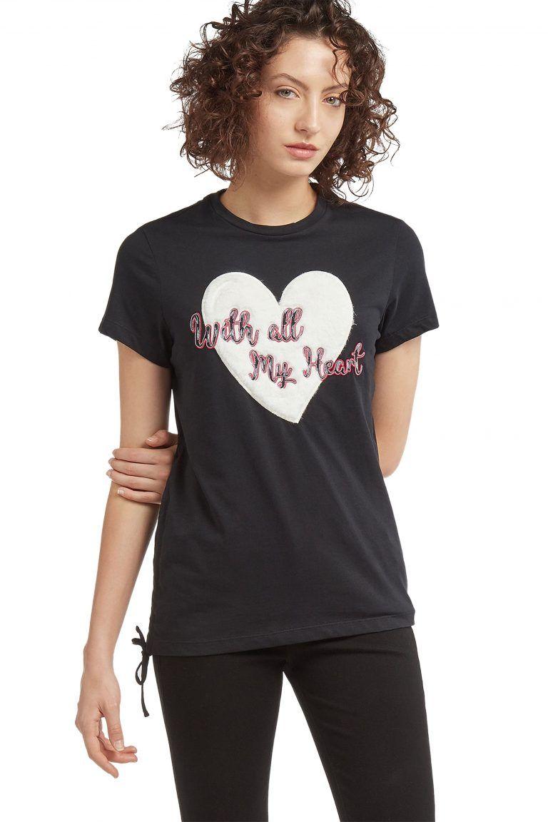 Trussardi Jeans γυναικείo t-shirt με απλικέ καρδιά - 56T00099 ... 5cf266a09e8