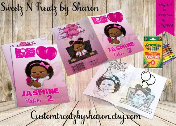 African American Boss Baby Girl Customized Coloring Books