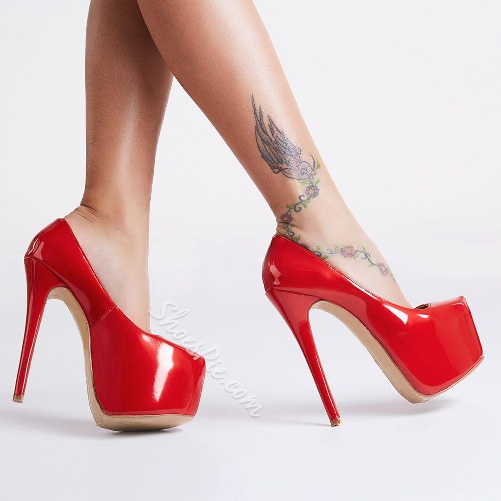 Classy Red Platform Heels | Red platform, Platform high heels and ...