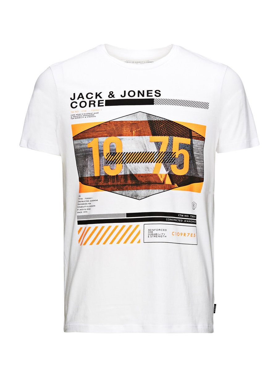 JACK /& JONES Herren Baumwoll T-Shirt Visit Tee Slim Fit Crew Neck Logo Print