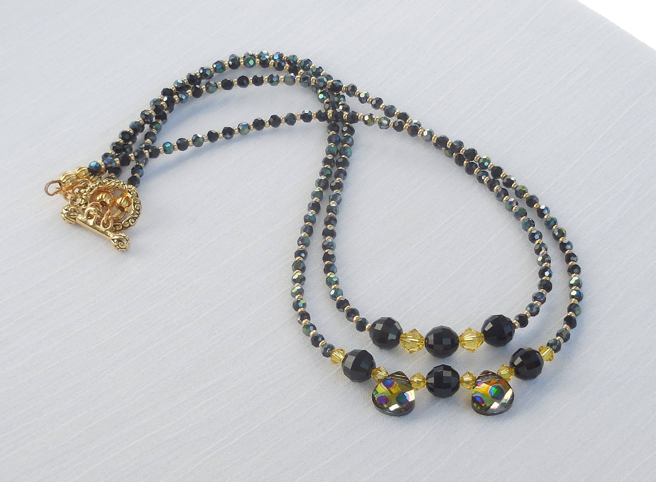swarovski crystal and glass bead 2 strand necklace by