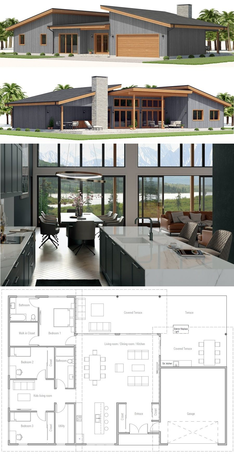 Home Plan Ch557 In 2020 Modern House Facades Sims House Plans House Projects Architecture