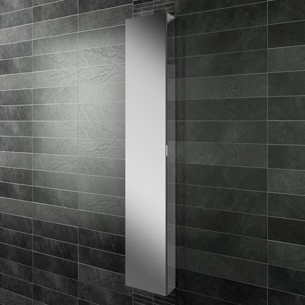 Images On Tall Mirrored Bathroom Cabinet set into wall between studs Next to toilet for toilet roll