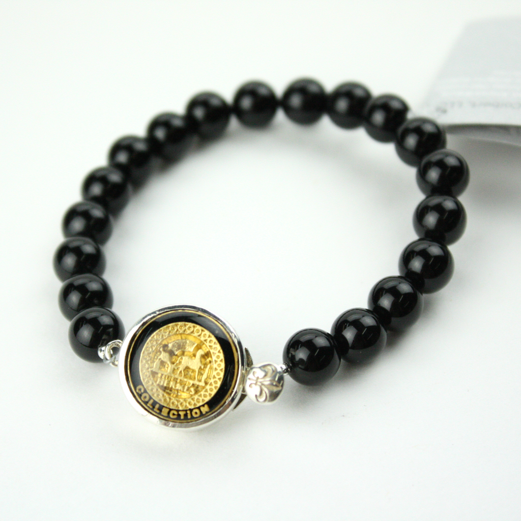 pin gold with strand singles button single bracelet authentic hermes black and