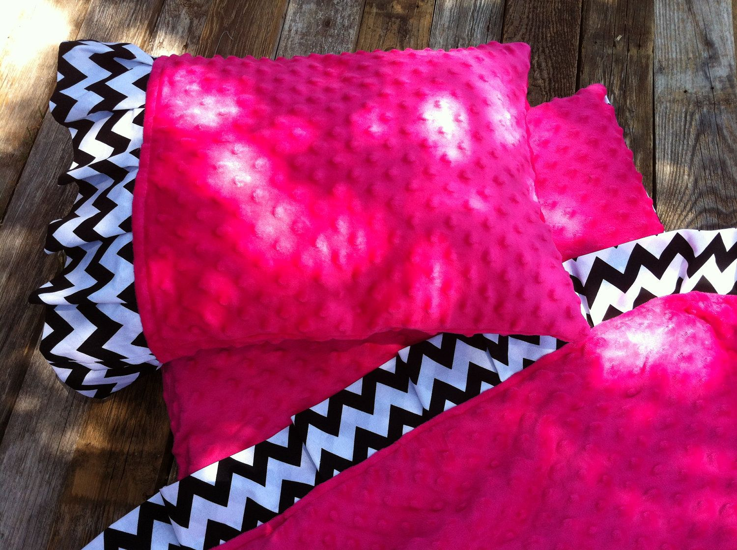 Minky Ruffle Blanket With Match Pillow Case Minky Top
