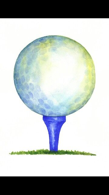Golf watercolor. Ball and tee in