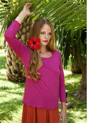 cerise Einfarbiges Shirt aus Micromodal 52406-35.jpg