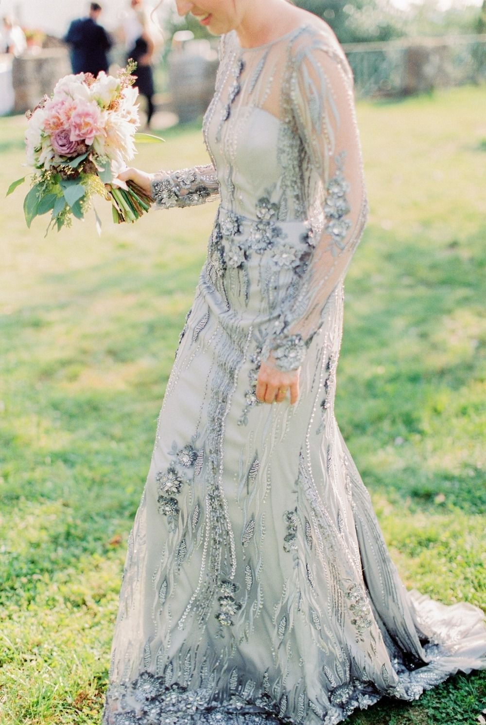 Whimsical summer wedding with custom silver dress in robin