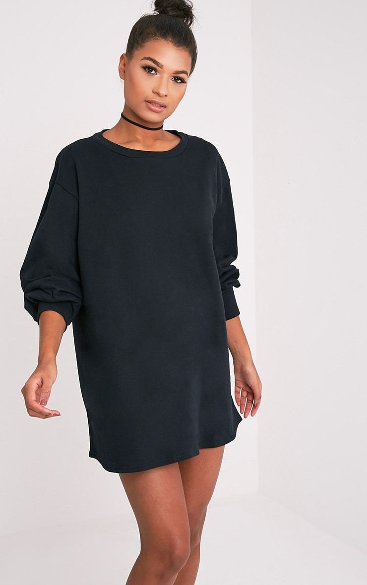 Sianna Black Oversized Sweater Dress | FASHION AND STYLE ...