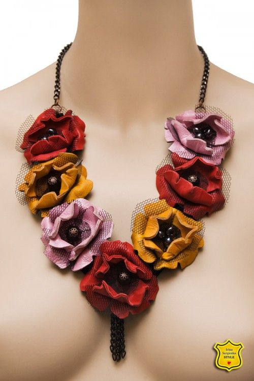 Bib necklace with stylized poppies from leather, red, orange, pink