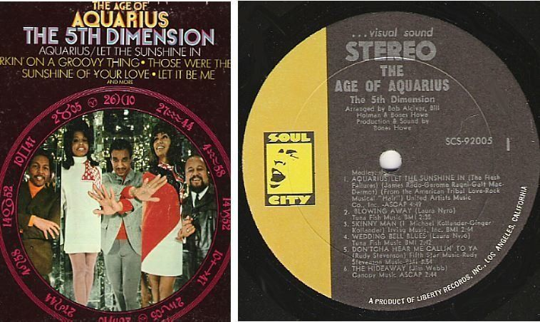 5th Dimension The The Age Of Aquarius 1969 Soul City Scs 92005 Album 12 Vinyl 7 50 Sunshine Of Your Love Age Of Aquarius Album