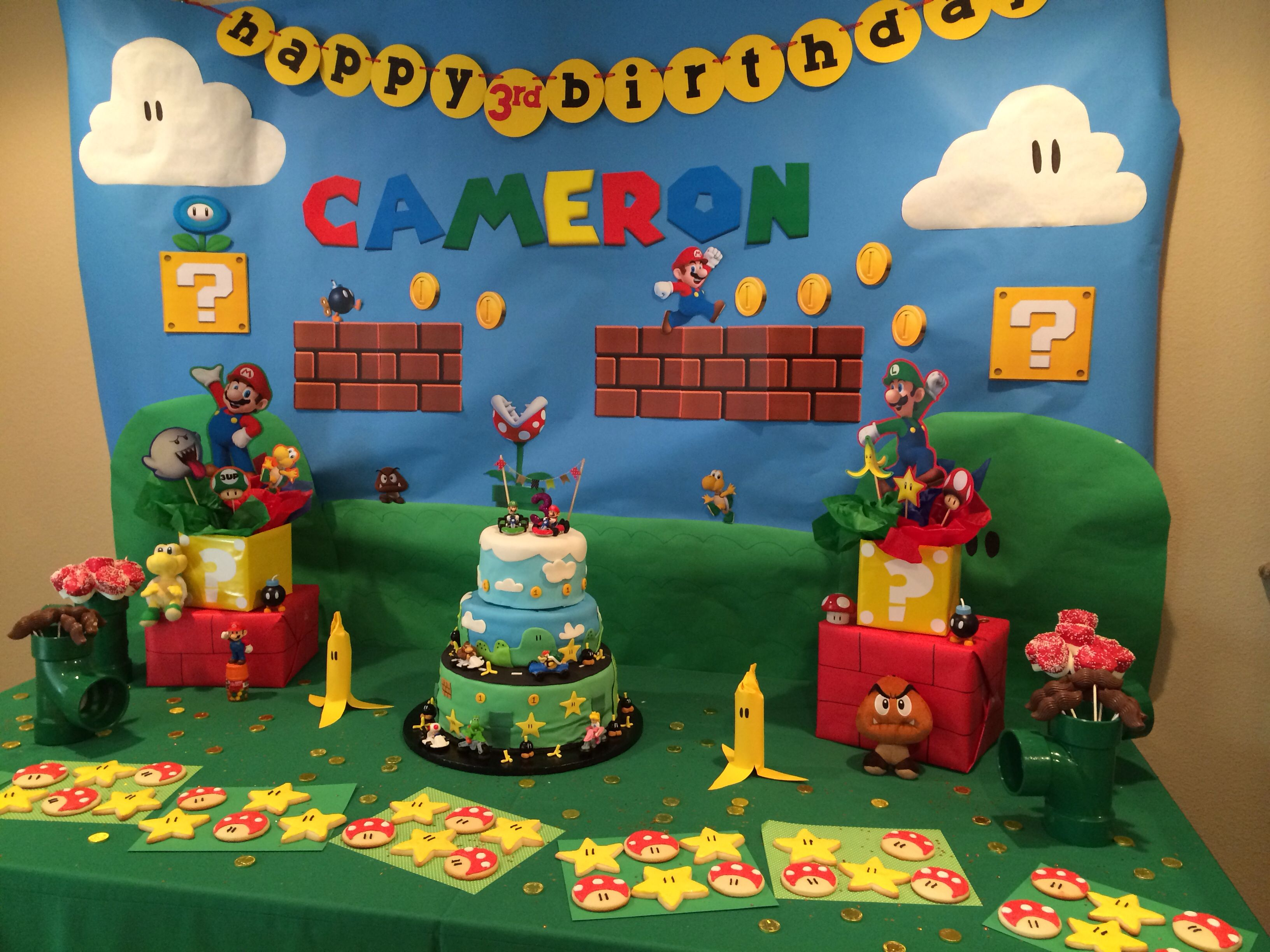 Mario birthday party treat table decor and cake Pinspiration