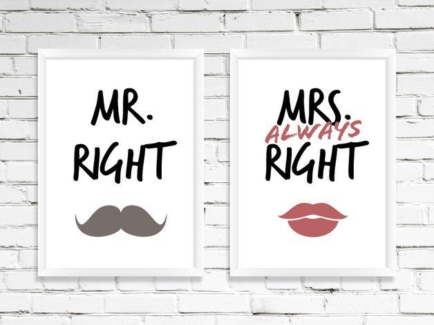 """Wanddeko - 2× Poster """"Mr. & Mrs. Right"""" DIN A4, A3 - ein Designerstück von Wortgestaltungsdinge bei DaWanda"""