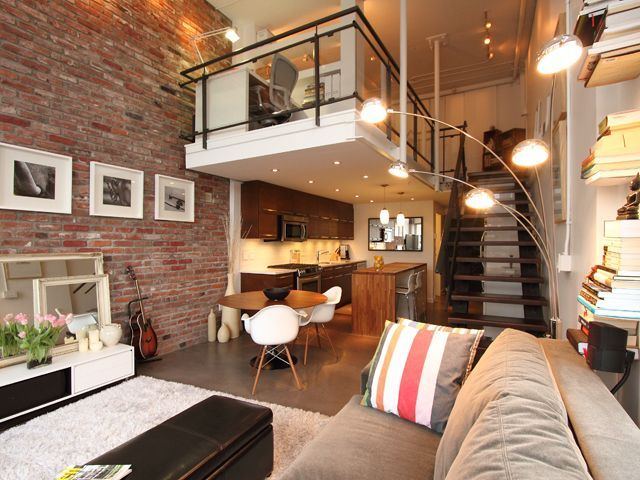 Interior Brick Wall With High Ceiling Furnishing And