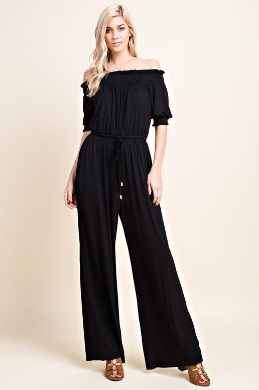 8d2c05cb76 Keep It Simple Jumpsuit - Black Off Shoulder Jumpsuit