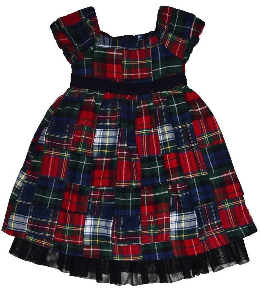 Euc Baby Gap Girls Size 4t 4 Short Sleeve Red Tartan