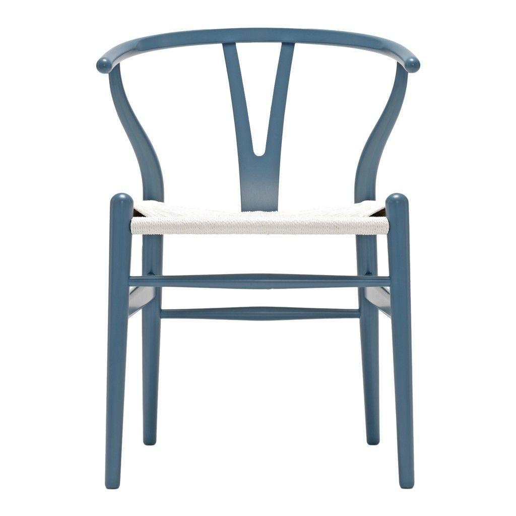 Chaise Wishbone Ch24 Hêtre Gris Bleuté Assise Corde Blanche Carl