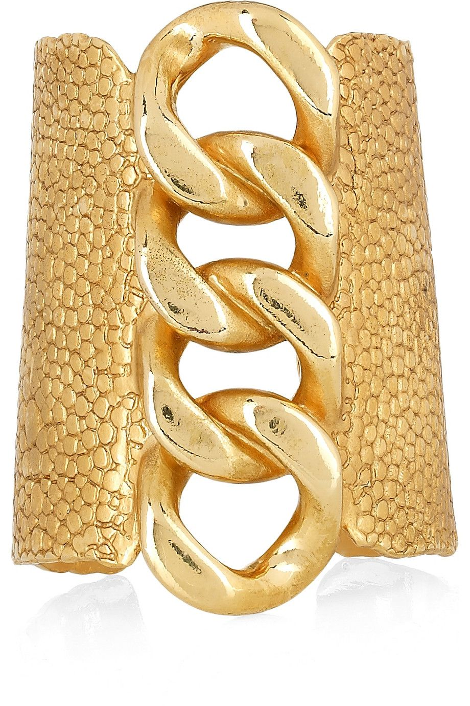 c3436adf57b YVES SAINT LAURENT Gold-plated stingray-effect chain cuff $1,095 ...
