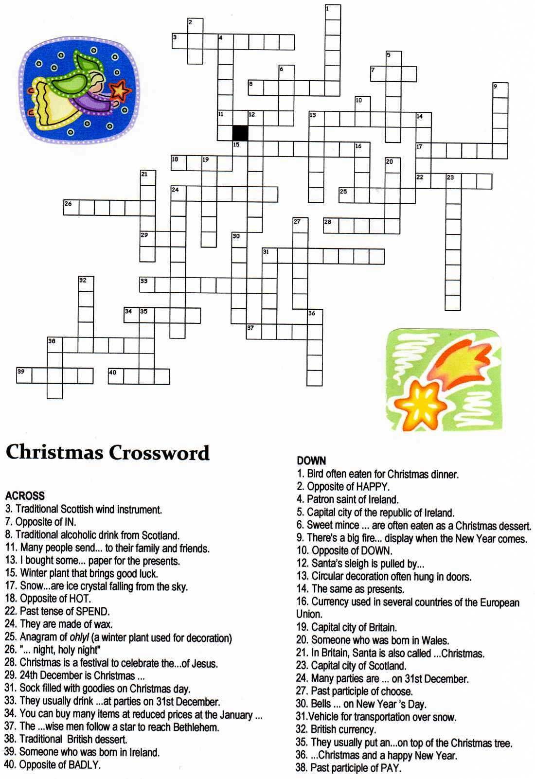 Christmas Angel Crossword Puzzle
