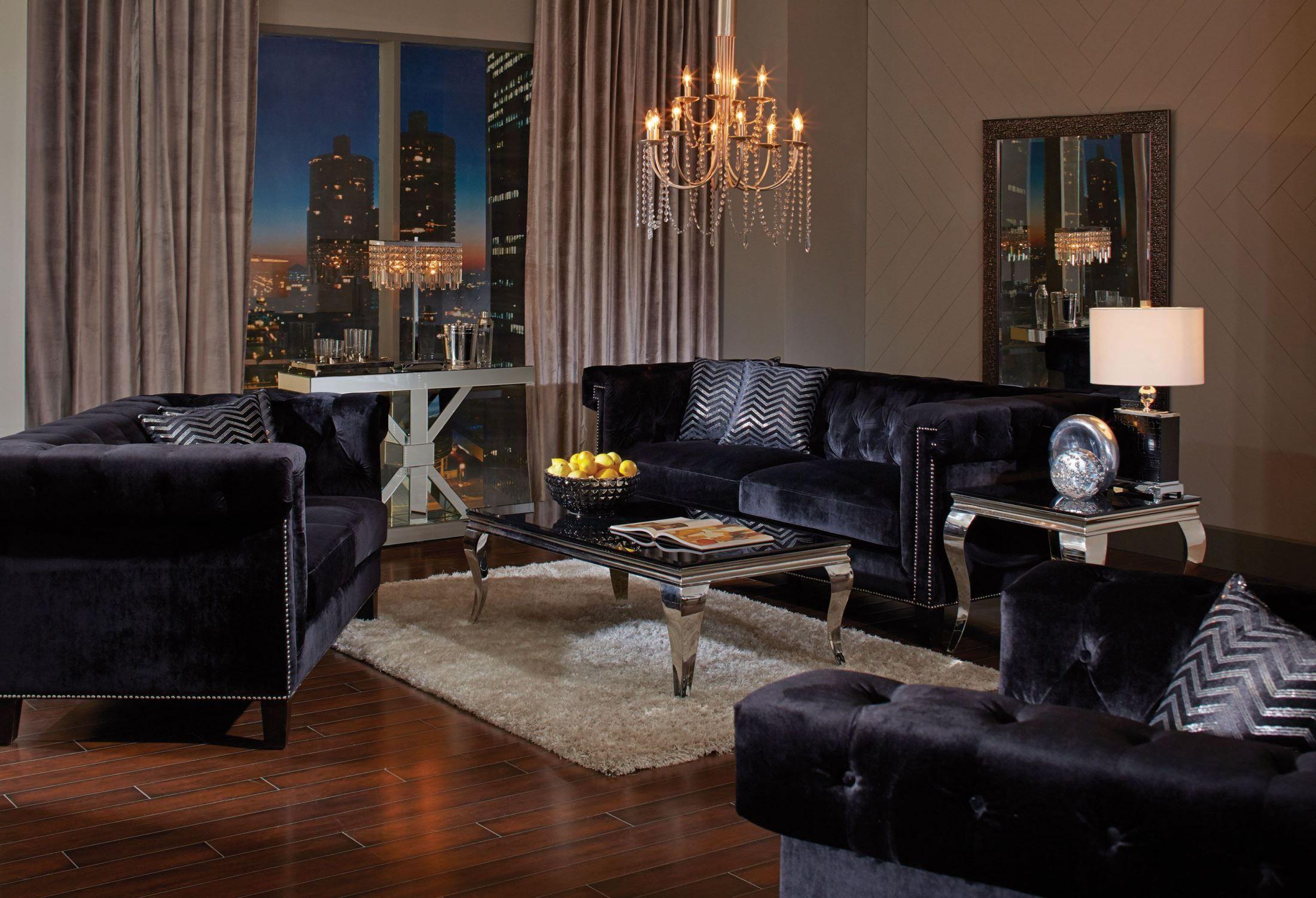 1stopbedrooms Com Velvet Living Room Living Room Sets Black Living Room #velvet #tufted #living #room #set