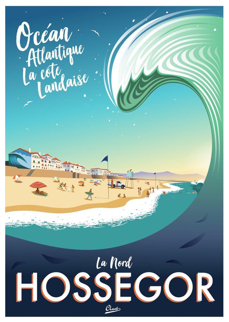 Hossegor France Vintage Surf Poster Art By Damien Clave Surf Poster Surf Art Vintage Travel Posters
