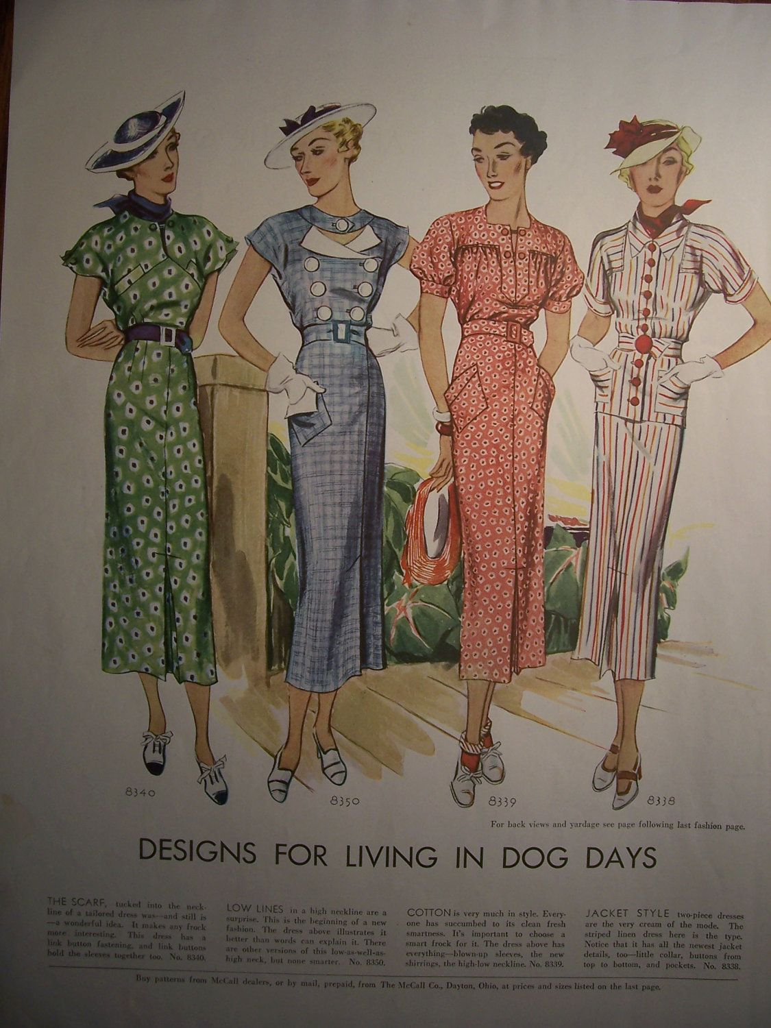 McCall 8340, 8350, 8339 and 8338 in 1935 | 1930-1940 Moda ...