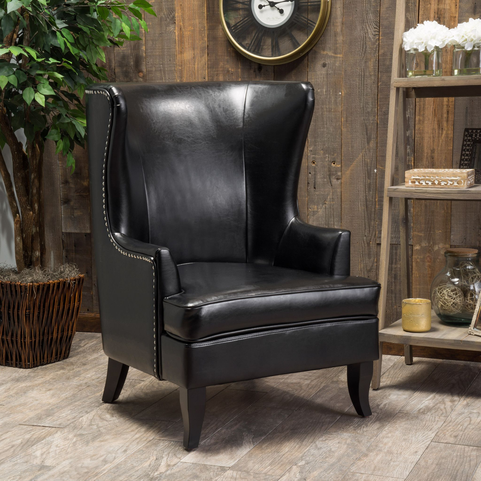Jameson Tall Wingback Black Leather Club Chair