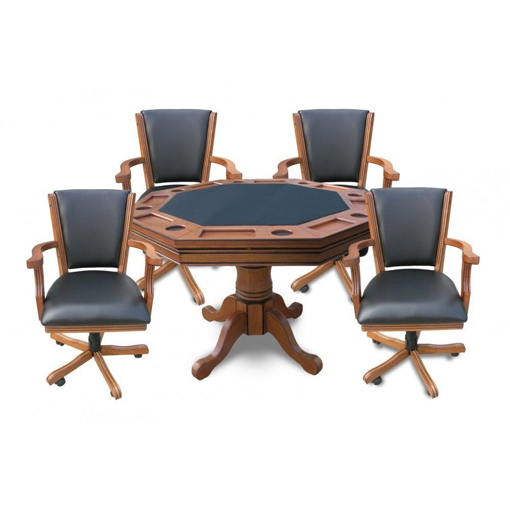 Antique game table chairs - Kingston Antique Dark Oak 3 In 1 Poker Table Game Table 4 Chairs Bumper Pool