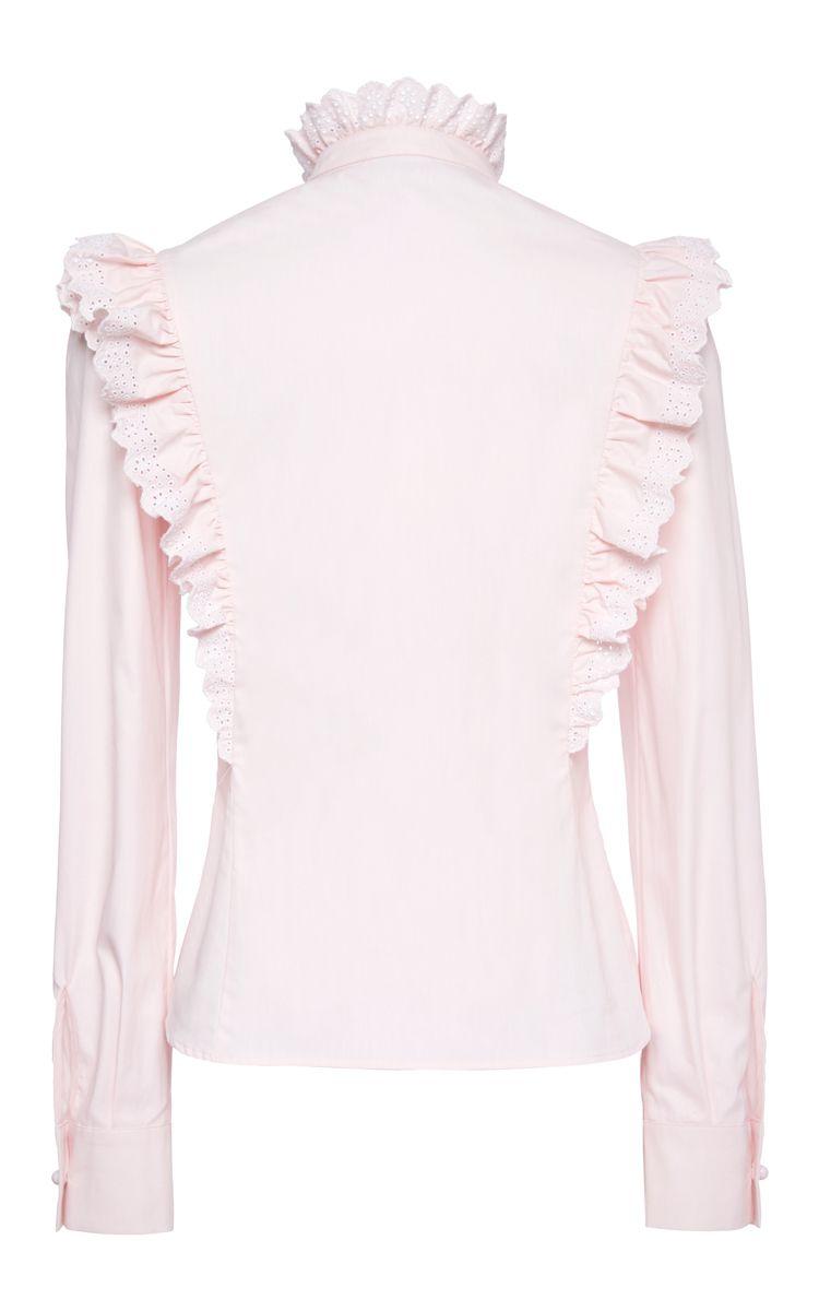 Cotton Poplin Ruffle Blouse by Philosophy di Lorenzo Serafini for Preorder on Moda Operandi