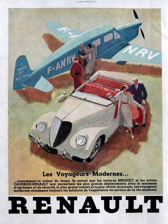 Affiche de renault de vintage art deco couleur originale - Affiche art deco ...