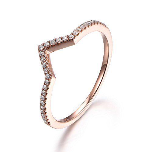 V Shaped Diamond Wedding RingCurved Band14K Rose goldA https