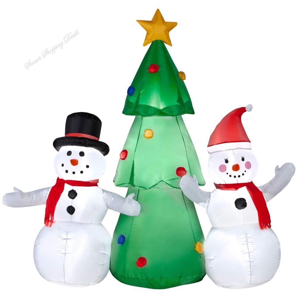 Christmas Airblown Inflatable Fiber Snowman Family Xmas Outdoor ...