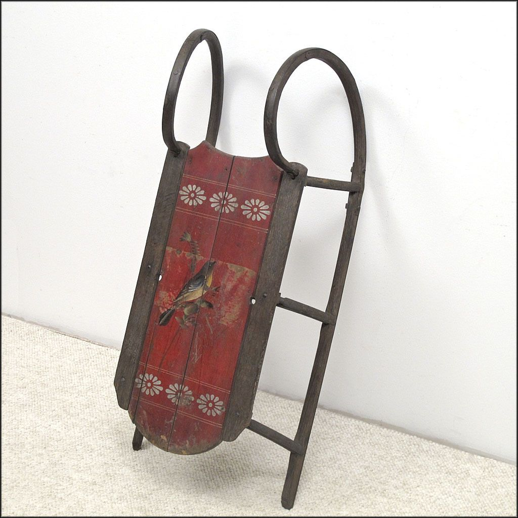 Antique Child's Sled / Sleigh in Original Red Paint with Song Bird  - Folk Art - Primitives - American - 19th C - 1860 - 1900
