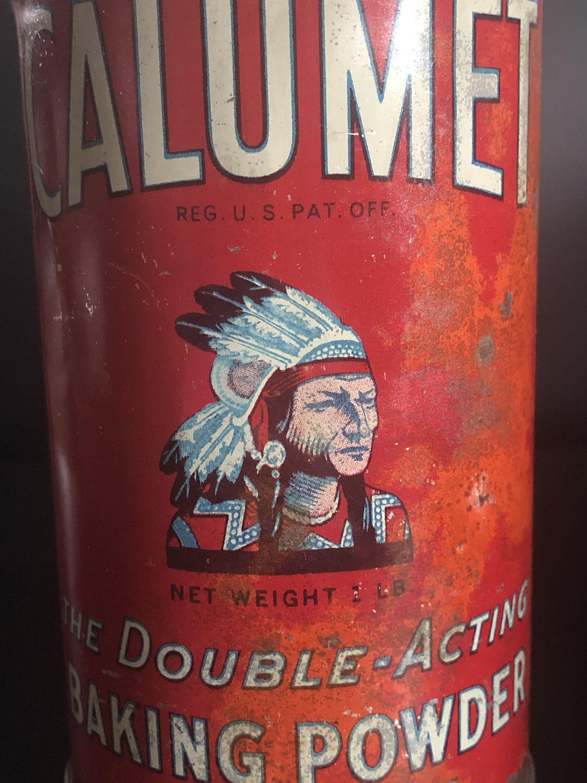 One (1) Pound Calumet Baking Powder Tin with Lid Indian