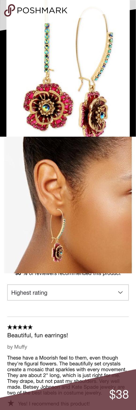 Betsey Johnson Gold Tone Multi Crystal Flower Drop Earrings
