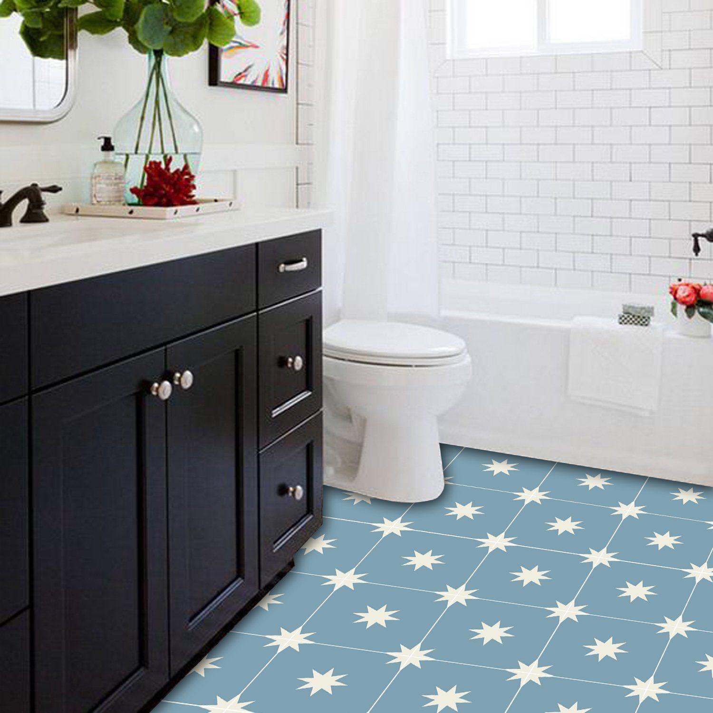 Vinyl Floor Tile Sticker Moroccan Starry Night In Powder Blue Someday Home In 2019 Black White Tiles Bathroom White Bathroom Tiles Hexagon Tile Bathro