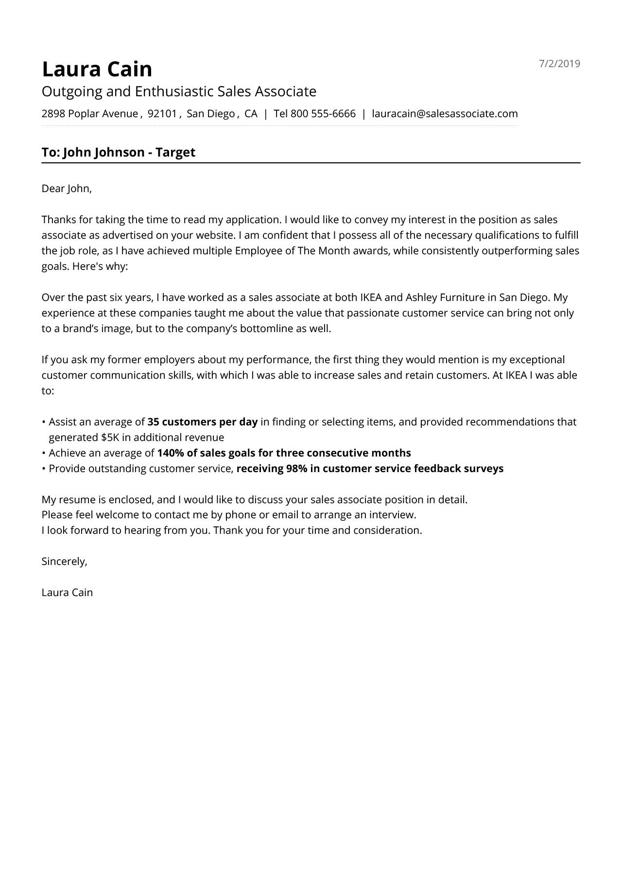 Sales associate cover letter example cover letter