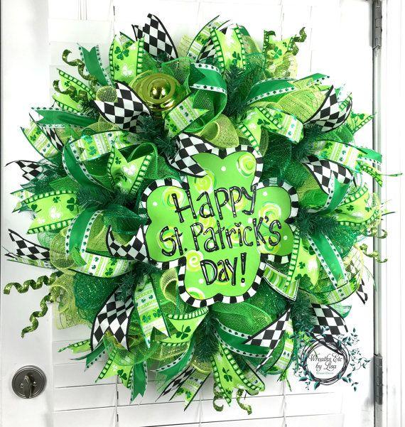 deco mesh st patricks day wreath shamrock wreath happy st patricks day wreath st patricks. Black Bedroom Furniture Sets. Home Design Ideas
