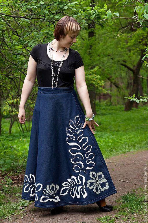 "Купить Юбка ""Райский сад"" - тёмно-синий, юбка, юбка в пол, юбка макси, джинса"
