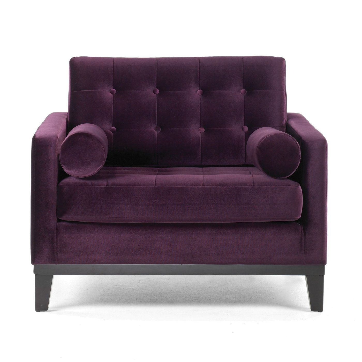 Gray Sofa Paired With This Eggplant Club Chair Purple