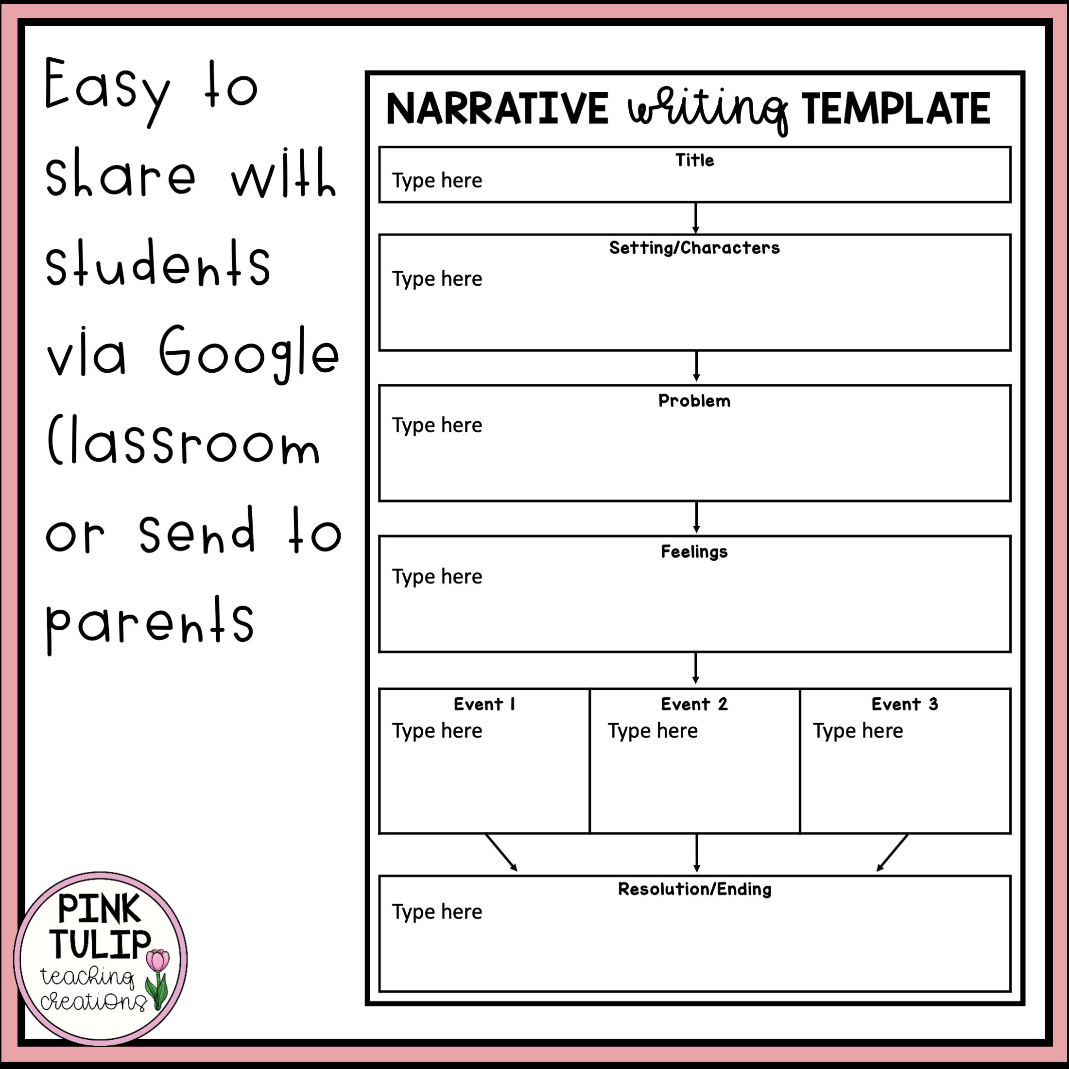 Narrative Writing Worksheet Pack Slides